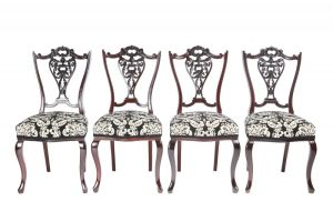 Quality Set Of 4 Victorian Carved Mahogany Dining Chairs C. 1870