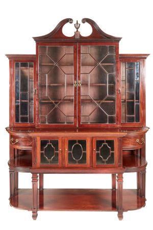 Large Antique Mahogany Astragal Glazed Breakfront Bookcase