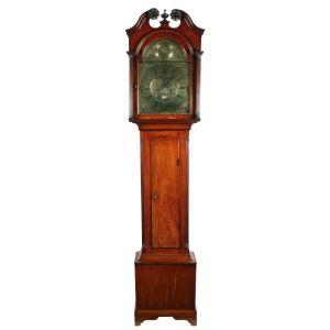 18th Century Walnut Brass Dial Grandfather Clock