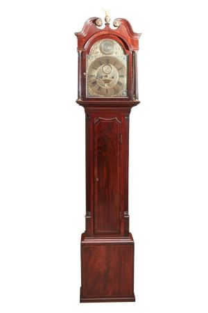 Mahogany Inlaid Brass Face 8 Day Grandfather Clock