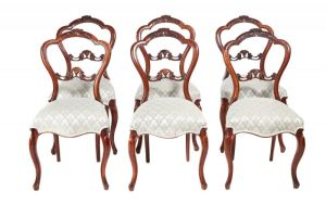 Quality Set Of Six Victorian Carved Walnut Dinin