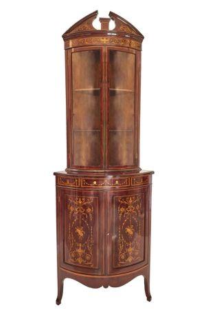 Exhibition Quality Inlaid Corner Cabinet C.1890