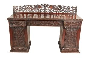 Small Carved Anglo Indian Padouk Pedestal Sideboard C.1815