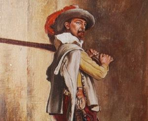 Antique Oil Painting Of A Musketeer.