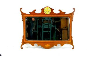 An Exceptional Inlaid Mahogany Wall/overmantle Mirror