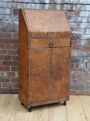 Art Deco Leather Studded Bureau