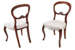 Pair Of Victorian Balloon Back Chairs C.1860