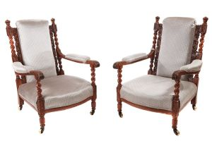 Fine Pair Of Antique Carved Oak Armchairs