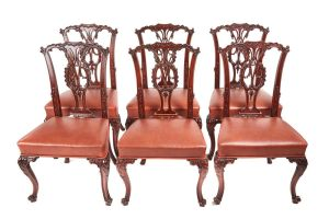 Fine Quality Set Of 6 Carved Mahogany Chippendale Style Dining Chairs C.1860