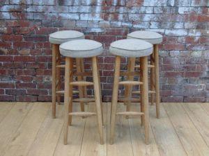 Four Re-upholstered Oak Bar Stools