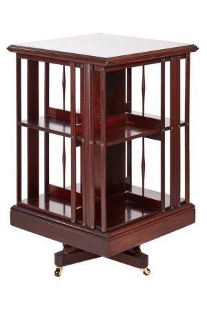Mahogany Inlaid Revolving Bookcase C.1900