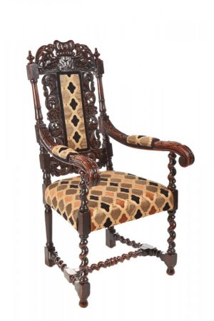 Fantastic Antique Carved Oak Throne Chair C. 1850