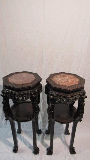 Pair Chinese Urn Stands