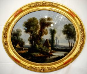 Reverse Convex Glass Rural Scene Oil Painting