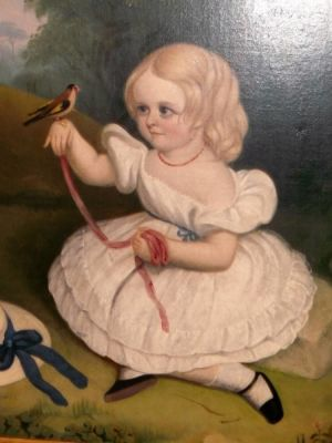 """the Girl With The Goldfinch"" Oil Painting, Circa 1820 - 1840."