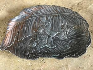 Antique Japanese Shiso Leaf Shaped Dish Repousse Tray Signed