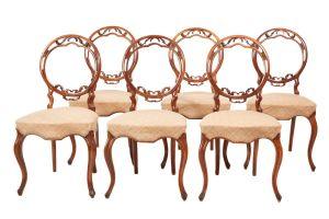 Fine Set Of 6 Victorian Walnut Dining Chairs C.1850