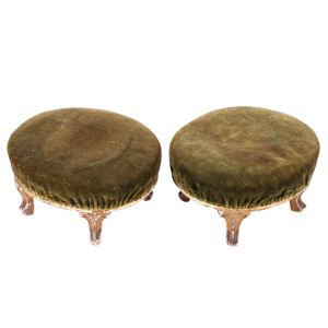 Pair Of Oval Giltwood Stools