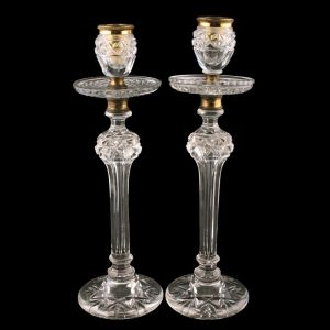 Victorian Glass & Gilt Brass Candlesticks