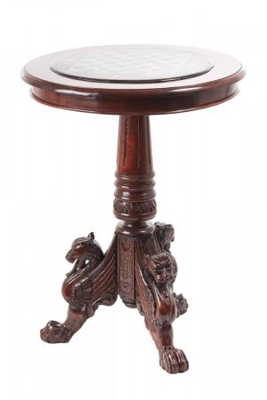 Fantastic Carved Mahogany Table With A Painted Marble Chess Top