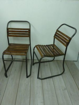 Pair Of Industrial Stacking Chairs