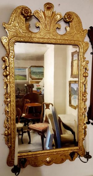 George I Period Antique Carved Giltwood Mirror With Original Gilding & Candle Holders