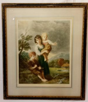 Victorian Lithograph 'wood Gatherers' By T Gainsboro (ra)