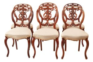 Quality Set Of 6 Victorian Carved Walnut Dining Chairs