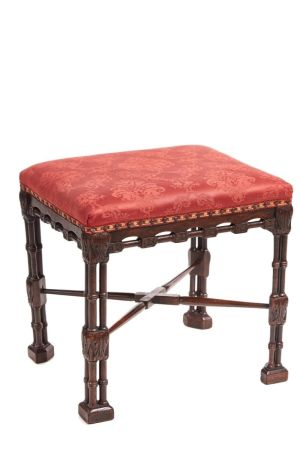 George Iii Mahogany Chinese Chippendale Stool C.1780