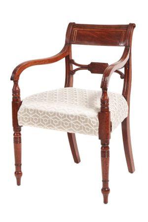 Regency Mahogany Brass Inlaid Elbow Chair