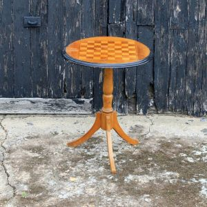 Victorian Antique Circular Table With Inlaid Chess Or Draughts Board