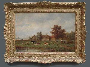 A.j. Van Wyngaerdt(1808-1887) Cows In The Pasture