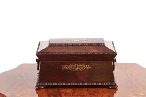 Fine Regency Brass Inlaid Rosewood Tea Caddy