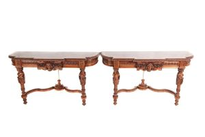 Fine And Rare Pair Of French Carved Walnut Console Tables
