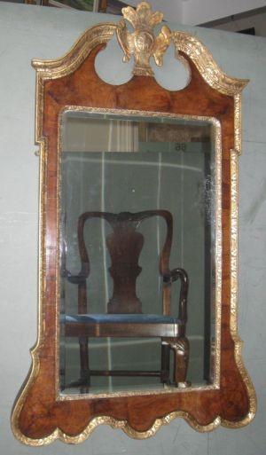18th Century George Ii Walnut & Parcel Giltwood Mirror