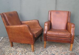 Pair Of Retro Leather Armchairs
