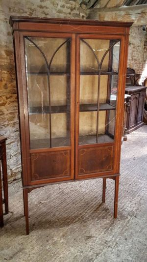 Edwardian Inlaid Walnut China Cabinet