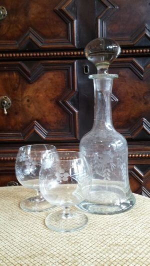 Engraved Glass Ship Decanter Circa 1920 And A Pair Of Matched Brandy Glasses