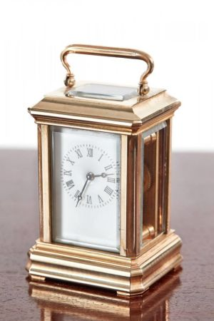 Fine Miniature Antique French Brass Carriage Clock