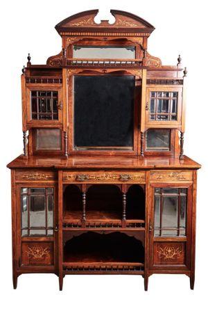Impressive Maple Rosewood Inlaid Sideboard / Cabinet C.1880
