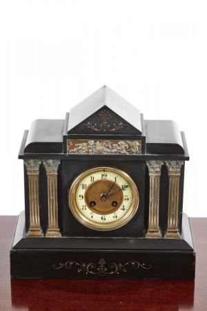 Mantel Clock, Victorian Black Marble