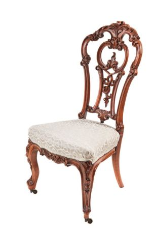 Outstanding Victorian Carved Walnut Occasional Chair C.1850