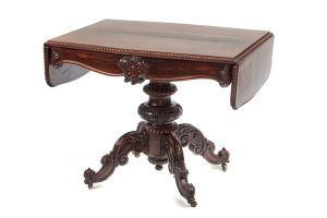 Outstanding Victorian Carved Rosewood Sofa Table C.1850