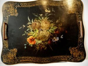 A Painted Black Lacquer Victorian Tray