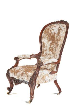 Fine Victorian Carved Antique Walnut Armchair