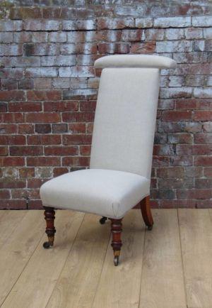 19c Walnut Re-upholstered Prayer Chair
