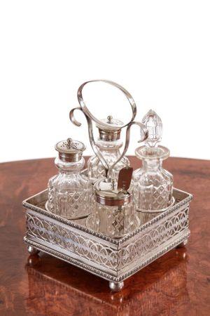 Antique Silver Plated Four Bottle Cruet Set