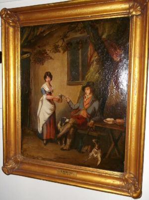 """outside The Inn"" In The Circle Of George Morland, Signed & Dated 1791."