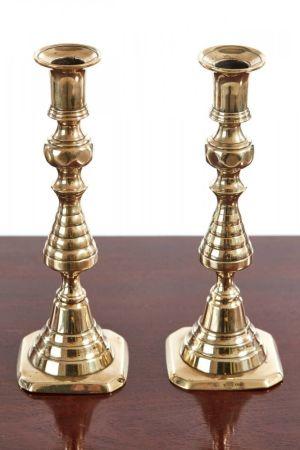 Pair Of Antique Brass Candlesticks