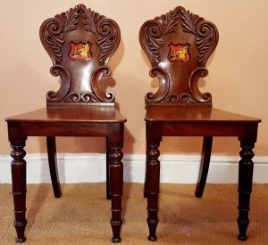 A Pair Of 19th Century Mahogany Hall Chairs